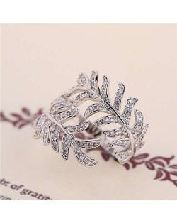 Cubic Zirconia Embellished Unique Feather Design 18K Platinum Plated Women Ring