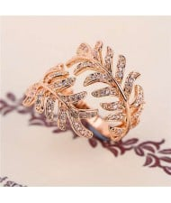 Cubic Zirconia Embellished Unique Feather Design 18K Rose Gold Plated Ring