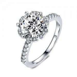 Six Claws Cubic Zirconia 18K Platinum Plated Wedding Ring