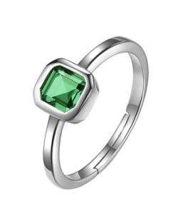 Square Green Gem Inlaid 18K Platinum Plated Women Ring