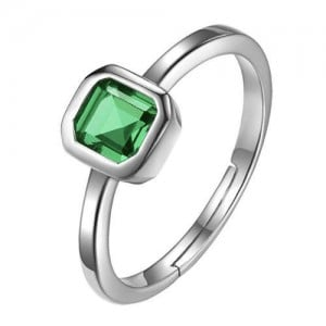 Square Green Gem Inlaid 18K Platinum Plated Women Ring