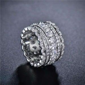 Shining Cubic Zirconia Embellished Lace Pattern Design 18K Platinum Plated Women Ring