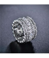 Shining Cubic Zirconia Embellished Lace Pattern Design 18K Platinum Plated Women Ring