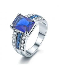 Square Blue Gem Inlaid Luxurious Style 18K Platinum Plated Women Ring