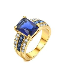 Square Blue Gem Inlaid Luxurious Style 18K Rose Gold Plated Women Ring