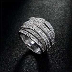 U.S. High Fashion Cubic Zirconia Embellished Mixed Rings Design 18K Platinum Plated Ring