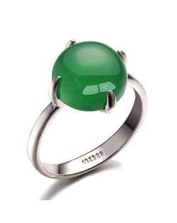 Four Claws Green Opal Inlaid 18K Platinum Plated Women Ring