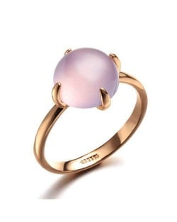 Four Claws Pink Opal Inlaid 18K Rose Gold Plated Women Ring