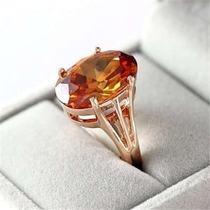 Graceful Oval Shape Gem Inlaid 18K Rose Gold Plated Women Ring