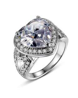 Rhinestone and Cubic Zirconia Elegant Heart Design 18K Platinum Plated Women Ring