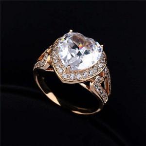 Rhinestone and Cubic Zirconia Elegant Heart Design 18K Rose Gold Plated Women Ring