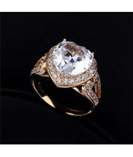 Rhinestone and Cubic Zirconia Elegant Heart Design 18K Rose Gold Plated Women Ring