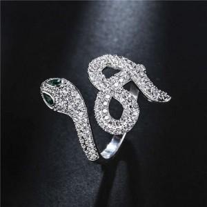 Creative Snake Design 18K Platinum Plated Open-end Women Ring