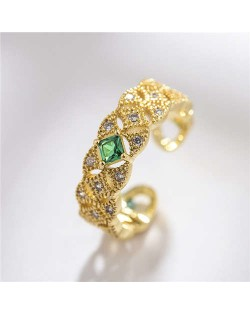 Green Gem Inlaid Delicate Rhinestone Internet Celebrity Choice 18K Rose Gold Plated Ring