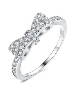 Cubic Zirconia Bowknot Korean Fashion 18K Platinum Plated Ring