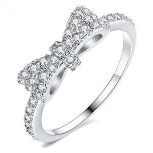 Cubic Zirconia Bowknot Korean Fashion 18K Platinum Plated Ring