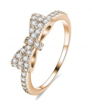 Cubic Zirconia Bowknot Korean Fashion 18K Rose Gold Plated Ring