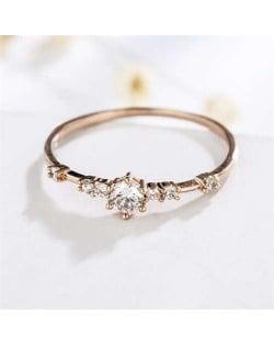 Cubic Zirconia Embellished Slim Fashion 18K Rose Gold Lady Ring