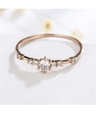 Cubic Zirconia Embellished Slim Fashion 18K Rose Gold Lady Ring