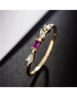 Purple Cubic Zirconia and Rhinestone Embellished Slim Style 18K Gold Plated Ring