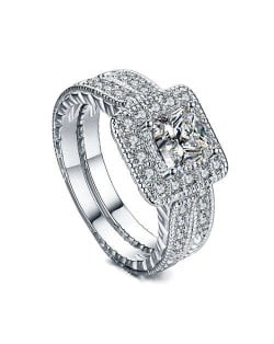 Square Cubic Zirconia Embellished Dual Rings Sweet Design 18K Platinum Plated Women Ring