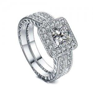 Square Cubic Zirconia Embellished Dual Rings Sweet Design 18K Platinum Plated Women Ring