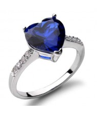 Blue Heart Gem Inlaid Adorable Fashion 18K Platinum Plated Ring