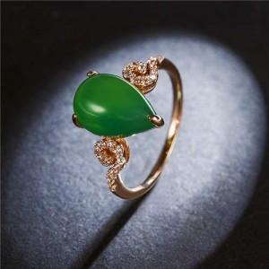 Waterdrop Shape Jade Inlaid Graceful Style 18K Rose Gold Plated Women Ring