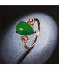 Waterdrop Shape Jade Inlaid Graceful Style 18K Rose Gold Plated Women Ring