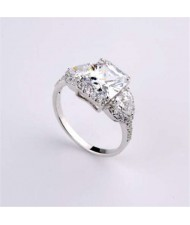 Delicate Design Cubic Zirconia 18K Platinum Plated Women Ring