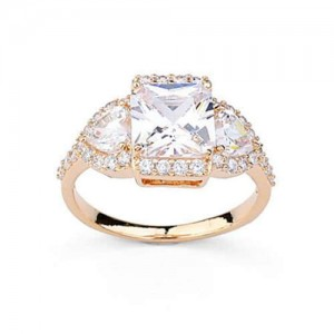 Delicate Design Cubic Zirconia 18K Rose Gold Plated Women Ring