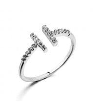 Rhinestone Embellished Alphabet Inspired Design 18K Platinum Plated Women Ring