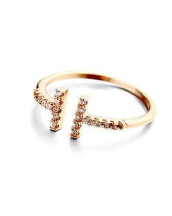 Rhinestone Embellished Alphabet Inspired Design 18K Rose Gold Plated Women Ring