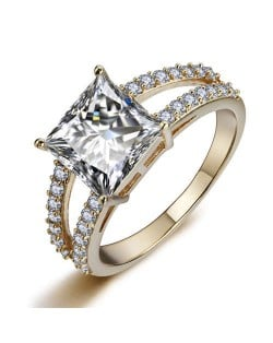 Cubic Zirconia Embellished Four Claws 18K Rose Gold Plated Women Ring