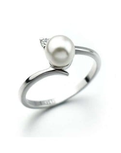 Pearl Inlaid Elegant Office Lady Fashion 18K Platinum Plated Ring