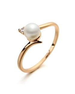 Pearl Inlaid Elegant Office Lady Fashion 18K Rose Gold Plated Ring