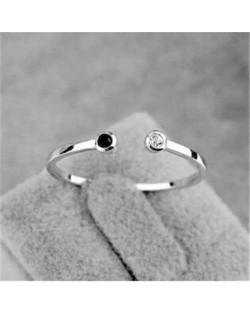 Rhinestone Inlaid Korean Fashion Lovely Design 18K Platinum Plated Lady Ring