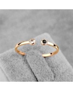 Rhinestone Inlaid Korean Fashion Lovely Design 18K Rose Gold Ring