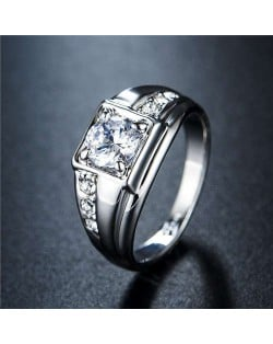 Cubic Zirconia Embellished Four Claws 18K Platinum Plated Men Ring
