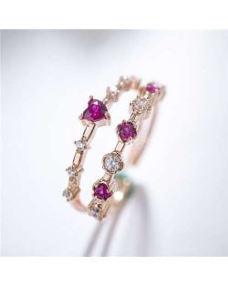 Red Rhinestone Embellished Dual Layers Rings Design 18K Rose Gold Plated Women Ring