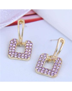 Rhinstone Embellished Square Shape Korean Fashion Women Stud Earrings - Violet