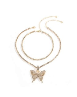 Rhinestone Butterfly Pendant Dual Layers Chain High Fashion Women Alloy Necklace - Golden