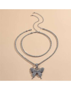 Rhinestone Butterfly Pendant Dual Layers Chain High Fashion Women Alloy Necklace - Gun Black