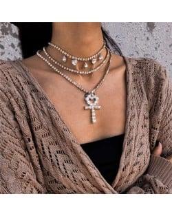 Peach Heart Cross Pendat Triple Layers Chain Design High Fashion Women Costume Wholesale Necklace - Golden