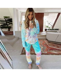 High Fashion Abstract Dyed Flowers Long Sleeves Women Homewear/ Pajamas Suit - Blue