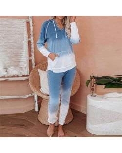 High Fashion Gradient Color Dyed Long Sleeves Women Homewear/ Pajamas Suit - Blue