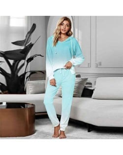 High Fashion Gradient Color Dyed Long Sleeves Women Homewear/ Pajamas Suit - Light Green