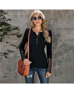 Solid Color Lace Sleeves Design Casual Fashion Women Top/ T-shirt - Black