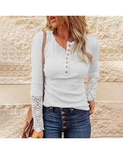 Solid Color Lace Sleeves Design Casual Fashion Women Top/ T-shirt - White