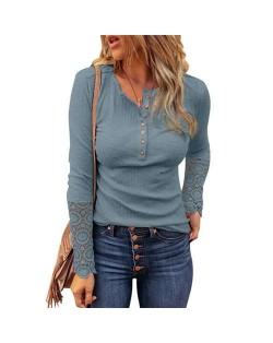 Solid Color Lace Sleeves Design Casual Fashion Women Top/ T-shirt - Blue